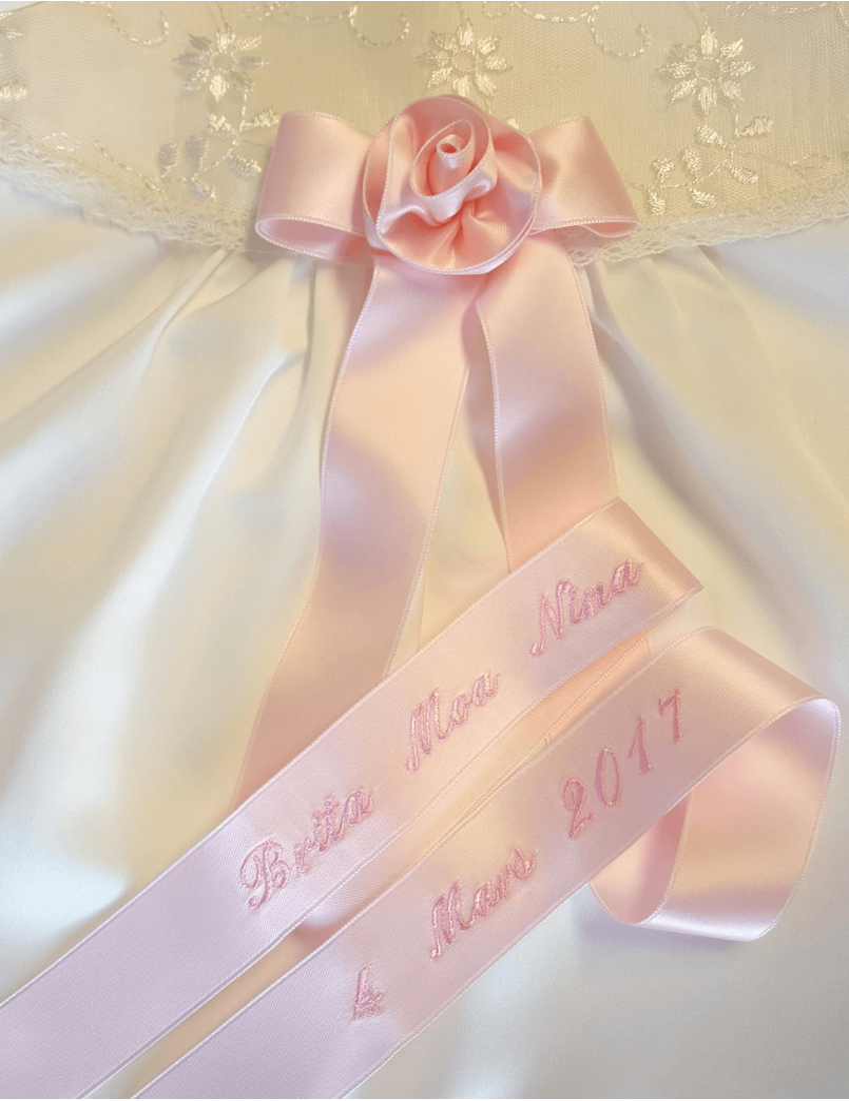 Dopklänning rosa doprosett till flicka