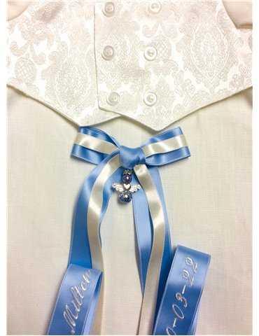 Dopklänning med handgjord rosa doprosett