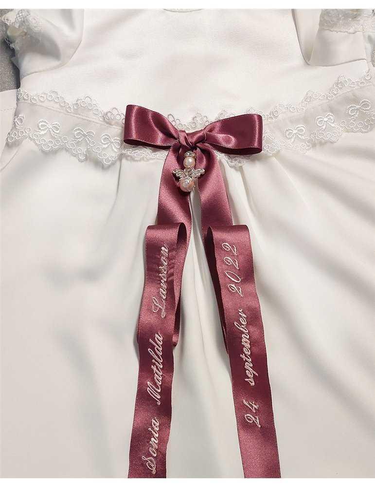 Dopklänning siden och gamalrosa doprosett