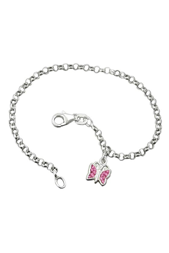 BRACELET ANCHOR CHAIN CHARM BUTTERFLY PINK SILVER 925 16CM